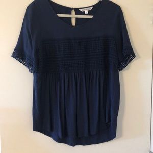 Down East navy blue baby doll top
